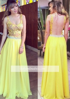 Lace A-line Hollow Yellow Floor-length Elegant Chiffon Straps Prom Dress_1