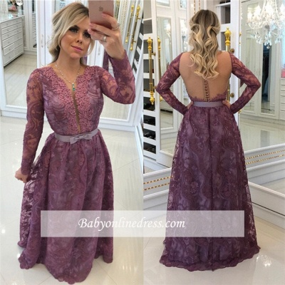 Glamorous A-Line Buttons Long-Sleeves Lace Evening Dresses_1