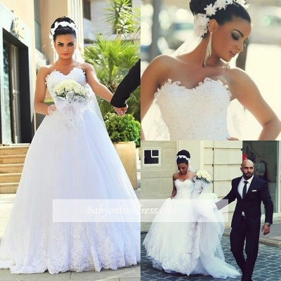 Newest A-line Sweetheart Sleeveless Lace Wedding Dress_1