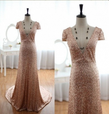 Sexy Deep V-Neck Sequined Prom Dresses Short Sleeves A-line Evening Gowns_4