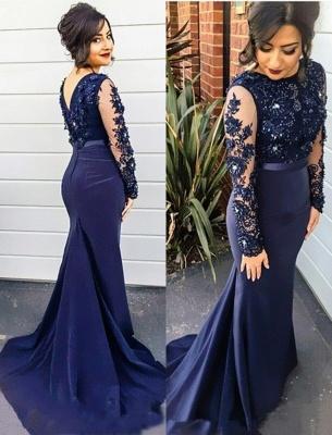 Navy Blue Mermaid Prom Dresses Long Sleeves Appliques Elegant Evening Gowns_4