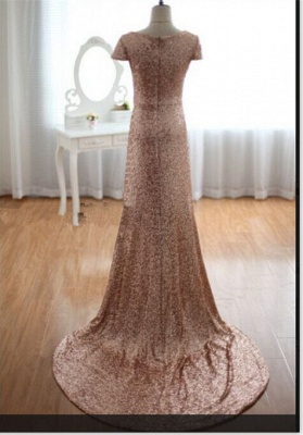 Sexy Deep V-Neck Sequined Prom Dresses Short Sleeves A-line Evening Gowns_3