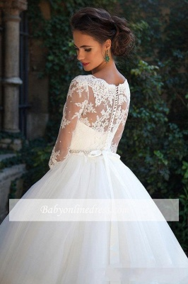 Fall Elegant Half Long Sleeves Bridal Ball Gown Lace Wedding Dresses_1