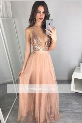 Alluring Sequined Deep V-Neck Prom Dress Floor-Length Side-Slit Evening Gowns_2