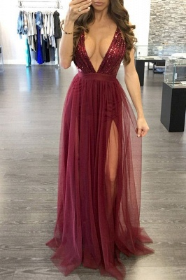 Alluring Sequined Deep V-Neck Prom Dress Floor-Length Side-Slit Evening Gowns_4