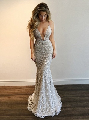 Sexy Spaghettis Straps Evening Gowns | V-Neck Open Back Prom Dresses_1