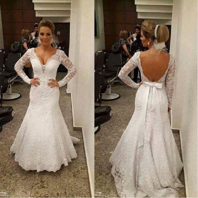 Sashes Backless V-neck Mermaid Lace Sexy Wedding Dresses with Long Sleeves_3