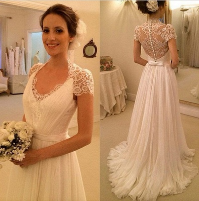 A-line Beach Wedding Dresses Chiffon Short Sleeves Sheer Lace Back Elegant Bridal Gowns_3
