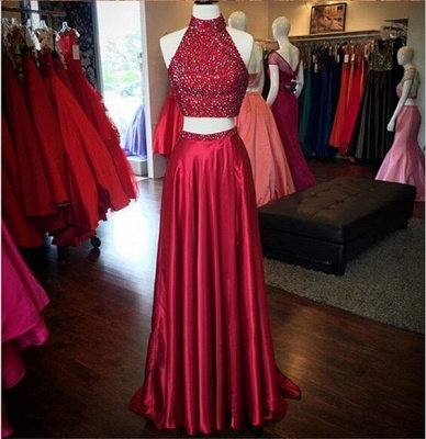 Red Two Pieces Prom Dresses High Neck Beaded Thigh-High Slit Sexy Evening Gowns_4