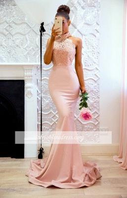 Elegant Pink Mermaid Bridesmaid Dresses | High Neck Lace Formal Dresses_1