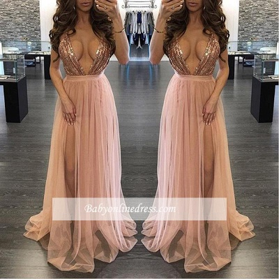Alluring Sequined Deep V-Neck Prom Dress Floor-Length Side-Slit Evening Gowns_1