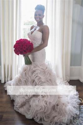 Sweetheart Sleeveless Ruffles Court-Train Open Back Organza Sheath Wave-Design Wedding Dress_1