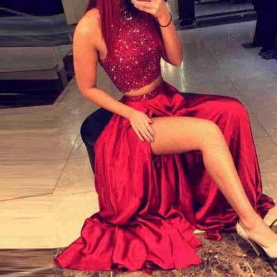 Red Two Pieces Prom Dresses High Neck Beaded Thigh-High Slit Sexy Evening Gowns_5