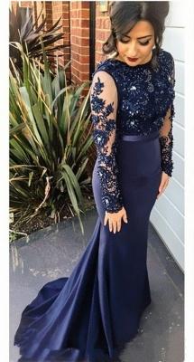 Navy Blue Mermaid Prom Dresses Long Sleeves Appliques Elegant Evening Gowns_2