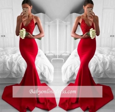Sexy Red Mermaid Evening Gowns | Spaghettis Straps V-Neck Prom Dresses_1