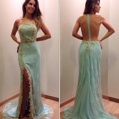 Stunning Lace Appliques Sleeveless Prom Dress Split Evening Gowns with Zipper_3