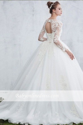 Sexy White Gown Ball Jewel Long-Sleeve Lace Wedding Dresses_1