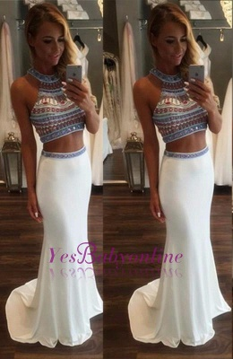 Crystal Glamorous Two Pieces High-Neck Mermaid Prom Dress_3