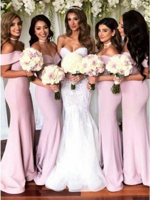 Simple Off-The-Shoulder Mermaid Bridesmaid Dresses | Elegant Side-Slit Long Prom Dresses_1