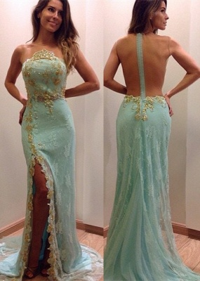 Stunning Lace Appliques Sleeveless Prom Dress Split Evening Gowns with Zipper_2