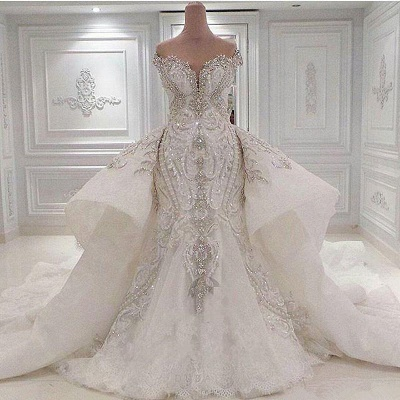Strapless Sweetheart Luxury Crystal Wedding Dresses with Detachable Overskirt_2