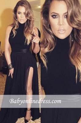 Slit Chiffon Long Black Sexy Latest High-neck Evening Dresses_3