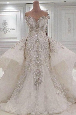 Strapless Sweetheart Luxury Crystal Wedding Dresses with Detachable Overskirt_1