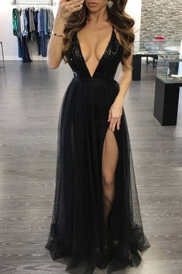 Alluring Sequined Deep V-Neck Prom Dress Floor-Length Side-Slit Evening Gowns_5