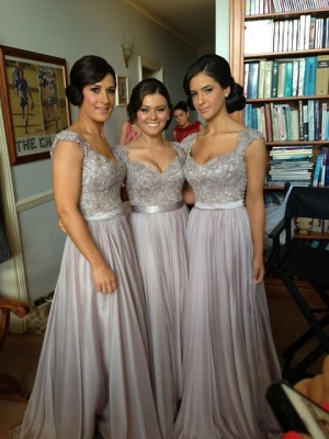 Sexy Silver Bridesmaid Dresses Lace Sequins Beaded Cap Sleeves Chiffon A-line Bridesmaid Dress_1