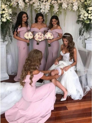 Simple Off-The-Shoulder Mermaid Bridesmaid Dresses | Elegant Side-Slit Long Prom Dresses_3