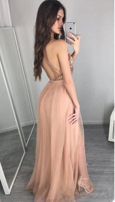Alluring Sequined Deep V-Neck Prom Dress Floor-Length Side-Slit Evening Gowns_3