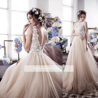 Vintage Tulle Appliques Bridal Gowns Sleeveless Romantic Wedding Dresses_1