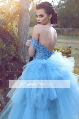 Glamorous Blue Lace Prom Dresses Off-the-shoulder Tulle Evening Dress_1