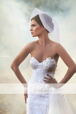 Gorgeous Sweetheart A-Line Wedding Dresses Appliques Open-Back Tulle Bridal Gowns_1