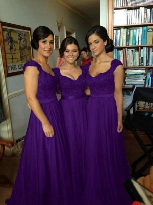 Sexy Silver Bridesmaid Dresses Lace Sequins Beaded Cap Sleeves Chiffon A-line Bridesmaid Dress_2
