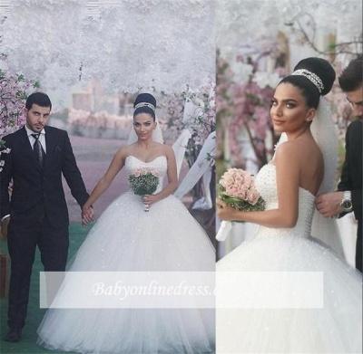 Sleeveless Sweetheart Ball-Gown Beading Glamorous Wedding Dress_1
