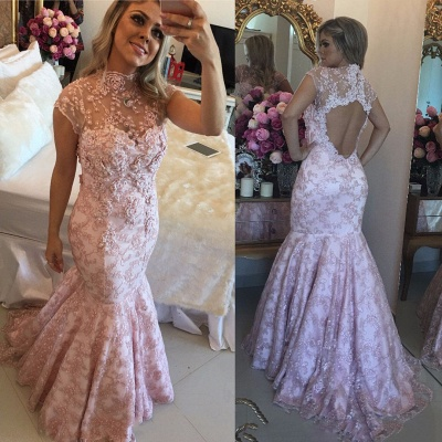 Open-Back Pink Lace Cap-Sleeves High-Neck Beaded Prom Dresses_3