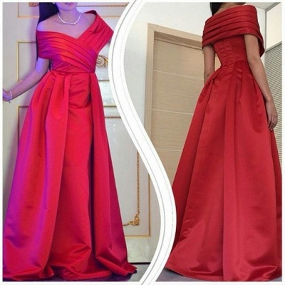 Formal Red Evening Gowns Off the Shoulder Ruched Satin Long Prom Dresses_3