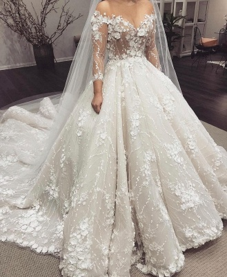 Off the Shoulder Lace Ball Gown Wedding Dresses with Half Sleeves_2