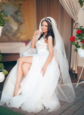 Long Elegant Lace Cap-Sleeve Tulle Split Wedding Dresses_6