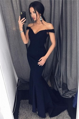 Sexy Mermaid Evening Dresses Off-the-Shoulder V-Neck Long Prom Dresses_1