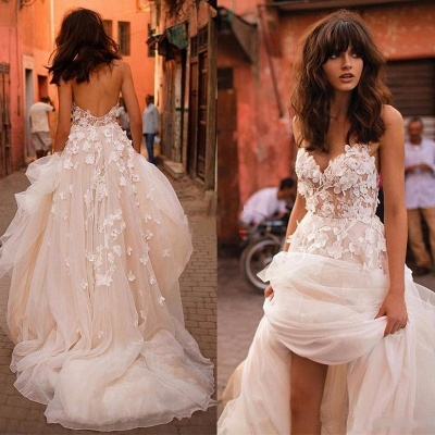 Tulle Glamorous Flowers V-Neck Sleeveless Wedding Dresses_4