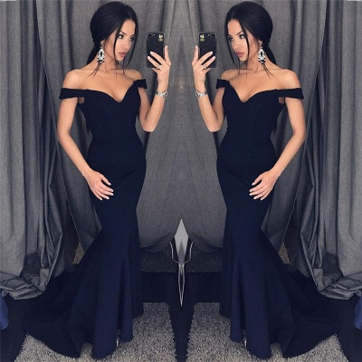 Sexy Mermaid Evening Dresses Off-the-Shoulder V-Neck Long Prom Dresses_3