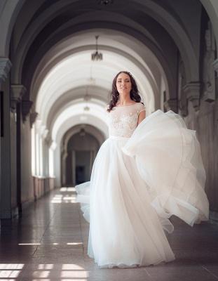 Long Elegant Lace Cap-Sleeve Tulle Split Wedding Dresses_5