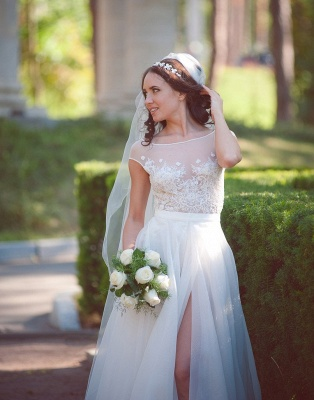 Long Elegant Lace Cap-Sleeve Tulle Split Wedding Dresses_3