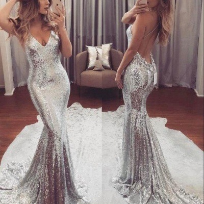 2018 Backless Sequins V-Neck Mermaid Gorgeous Prom Dress_3