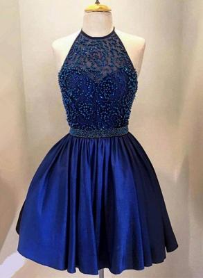 Royal Blue Short Homecoming Dresses Halter Neck Beaded Sweet 16 Party Dresses_1