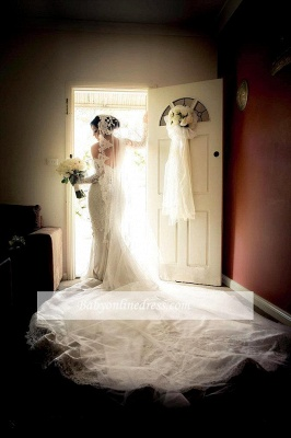 Gorgeous Lace Sweetheart  Mermaid Wedding Dress with Zipper and Pearls_1