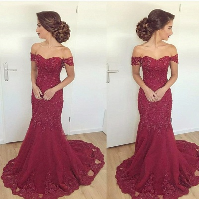 Long Lace Glamorous Appliques Off-the-Shoulder Mermaid Burgundy Evening Dress_3