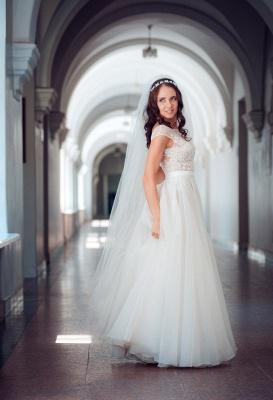 Long Elegant Lace Cap-Sleeve Tulle Split Wedding Dresses_2